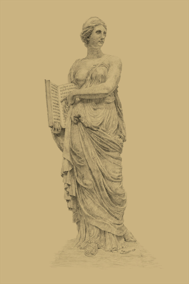 PRO ROMANIS ART Calliope Muse of Epic Poetry - Sepia