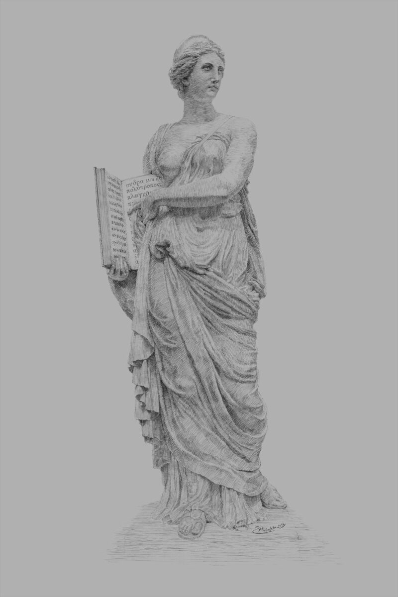 PRO ROMANIS ART Calliope Muse of Epic Poetry - B&W