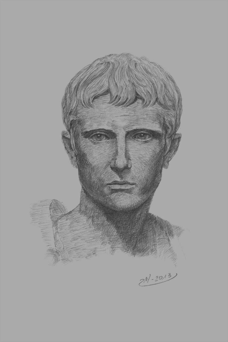 PRO ROMANIS ART Gaius Julius Caesar Octavianus - B&W