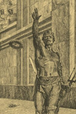 PRO ROMANIS ART Retiarius Before the Fight - Sepia
