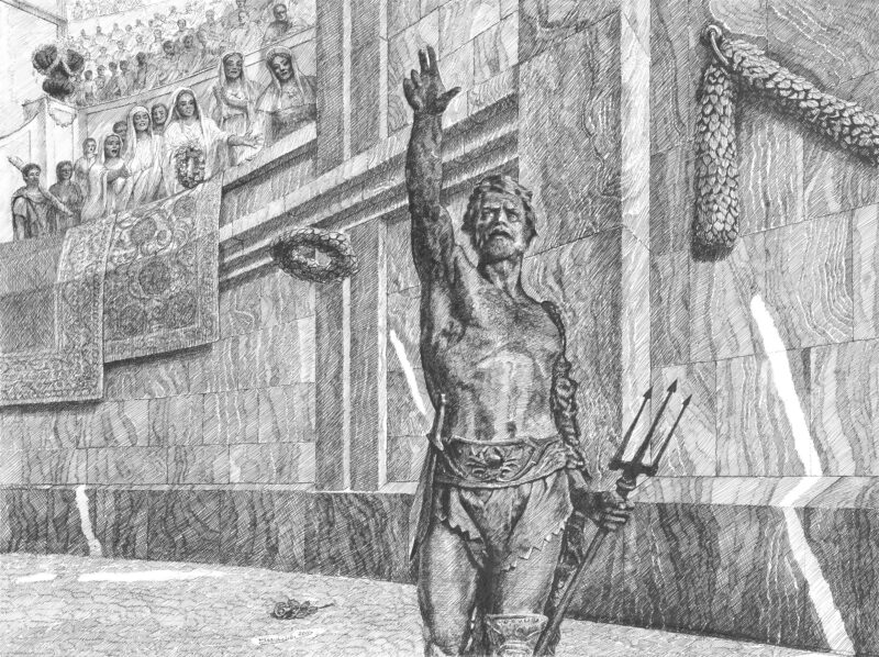 PRO ROMANIS ART Retiarius Before the Fight - B&W