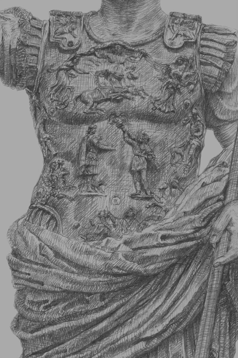 PRO ROMANIS ART Augustus Prima Porta Cuirass - B&W